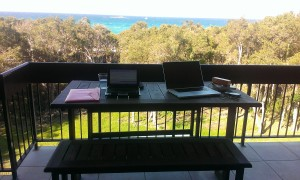 Ready to write on our balcony, with a wonderful view. (Photo: mine)