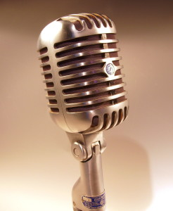 Everyone speak up! (Picture: Shure microphone via Wikipedia)